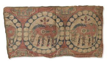 A Sogdian silk samite fragment with horses Central Asia, 7th-9th Century