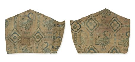 Two Sogdian silk samite fragments with ducks Central Asia, 7th-9th Century