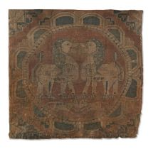 A Sogdian silk samite fragment with confronting lions Central Asia, 7th-9th Century
