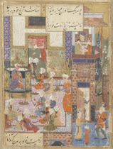 An illustrated leaf from a manuscript of Jami's Yusuf va Zulaykha, depicting Egyptian women in a ...