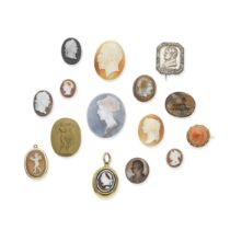 COLLECTION OF CORAL, SHELL, HARDSTONE AND METAL CAMEOS AND INTAGLIOS, 19TH CENTURY (15)
