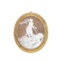GOLD AND SHELL CAMEO BROOCH PENDANT, CIRCA 1880