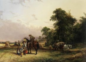 William Shayer, Snr. (British, 1787-1879) Bringing in the harvest