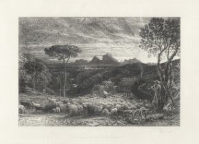Samuel Palmer (British, 1805-1881) Opening the Fold, or Early Morning Etching, 1880, on wove pape...