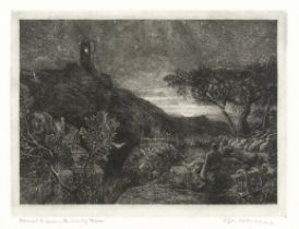 Samuel Palmer (British, 1805-1881) The Rising Moon, or An English Pastoral Etching, 1857, on chin...