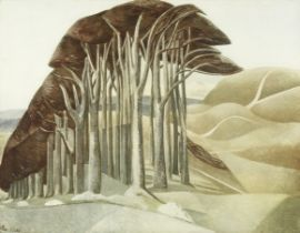 Paul Nash (British, 1889-1946) Wood on the Downs Offset lithograph printed in colours, on wove, p...