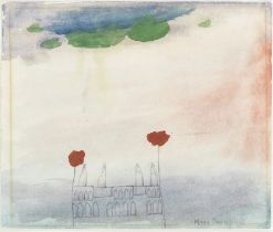 Mary Newcomb (British, 1922-2008) Gothic House with Poppies (with a further pencil and watercolou...