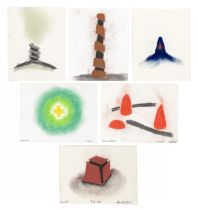 David Nash R.A. (British, born 1945) Red Box, Red Cones, Green Circle, Tower, Large Mound, Small ...