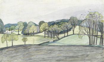 John Northcote Nash R.A. (British, 1893-1977) Spring Landscape, Iver Heath (Executed circa 1914)