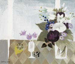 Mary Fedden R.A. (British, 1915-2012) Three Crocuses 50 x 59.5cm