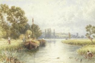 Myles Birket Foster, RWS (British 1825-1899) River scene with people loading hay barges and colle...