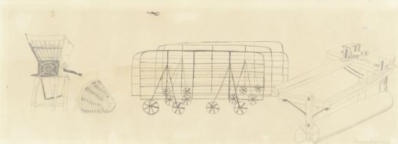 Mary Newcomb (British, 1922-2008) Farm Machinery (with a further pencil and watercolour, of a coa...