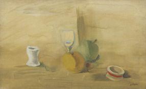 Alexandre Fasini (Ukrainian, 1892-1942) Still life of fruit, glass and egg cup