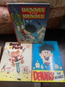 Two 1960 and 1962 vintage Dennis the Menace annuals and 1961 Beryl the Peril annual.