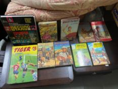 A Selection of vintage Biggles books, Roy Rodgers books ,Radio Luxembourg Record Stars annual and