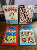 Two vintage The Topper Book Annuals together with two vintage The Dandy Books