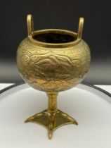 An unusual example of a Chinese Bronze/ Brass pedestal censer burner pot. Designed with ornate