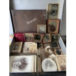 An antique metal document box with key containing various Victorian and later photographs to