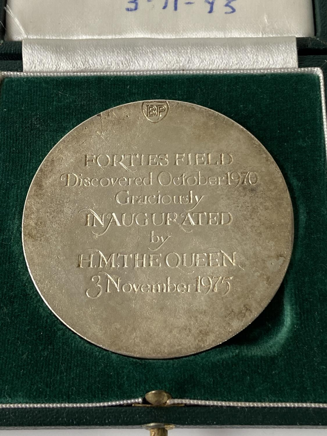 A 1975 commemorative medal for BP Forties Field oil field opening, comes with case, [diameter 6cm] - Image 3 of 6