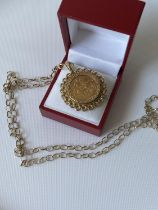 A gold full sovereign, dated 1906, with a 9ct gold pendant & finished with a 9ct gold belcher