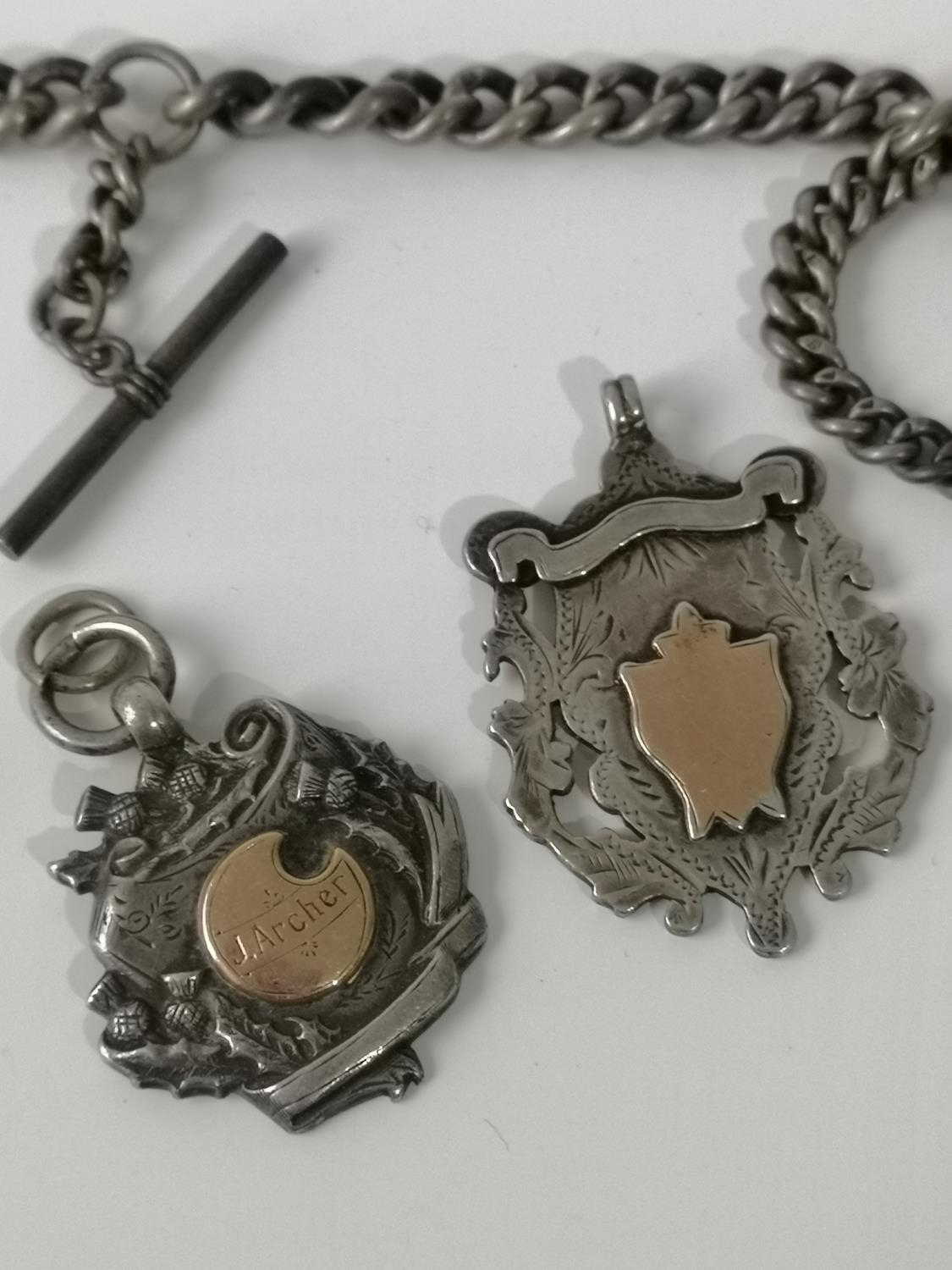 An antique silver Albert chain, T- Bar & Birmingham silver Masonic fob medal set with a blue - Image 3 of 3