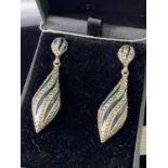 A Pair of silver, marcasite and enamel drop earrings. [4.7cm in length]