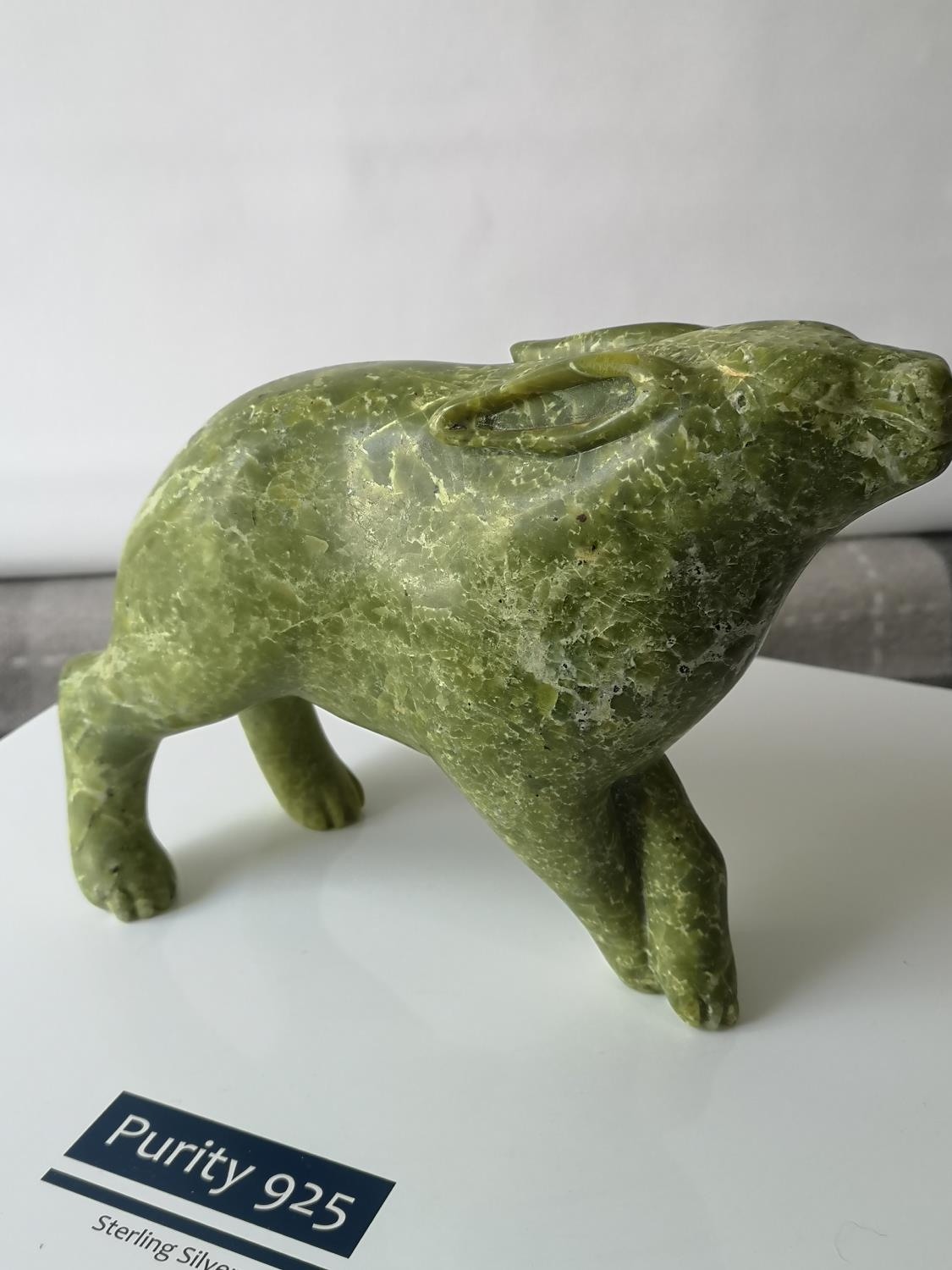 A Large Chinese hand carved soapstone rabbit sculpture. [14.5x19x7.5cm] [1648grams] - Image 3 of 5