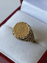 9ct gold coin style pinky ring [size I] [2.25g]