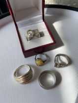 5 various ladies silver rings to include; London hallmarked & clear stone ring