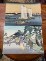 A Lot of two well executed Japanese watercolours. One piece depicting sailing boats and the other of