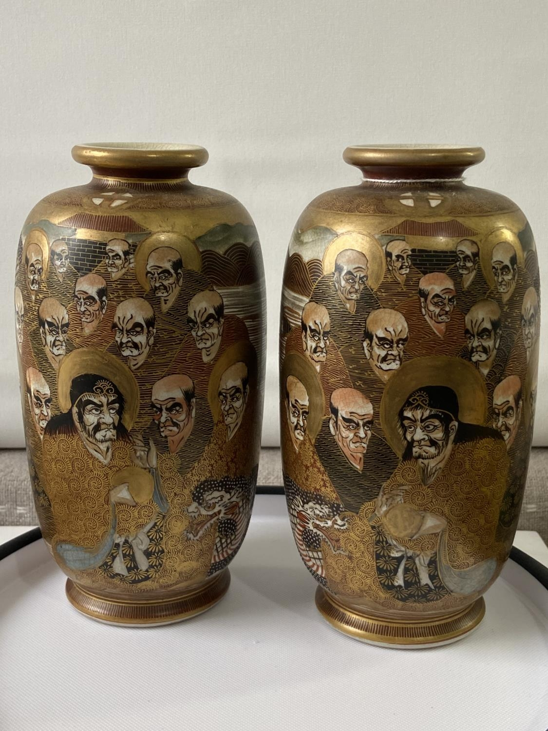 A pair of Japanese satsuma hand painted vases depicting various characters & dragon design [height - Image 2 of 14
