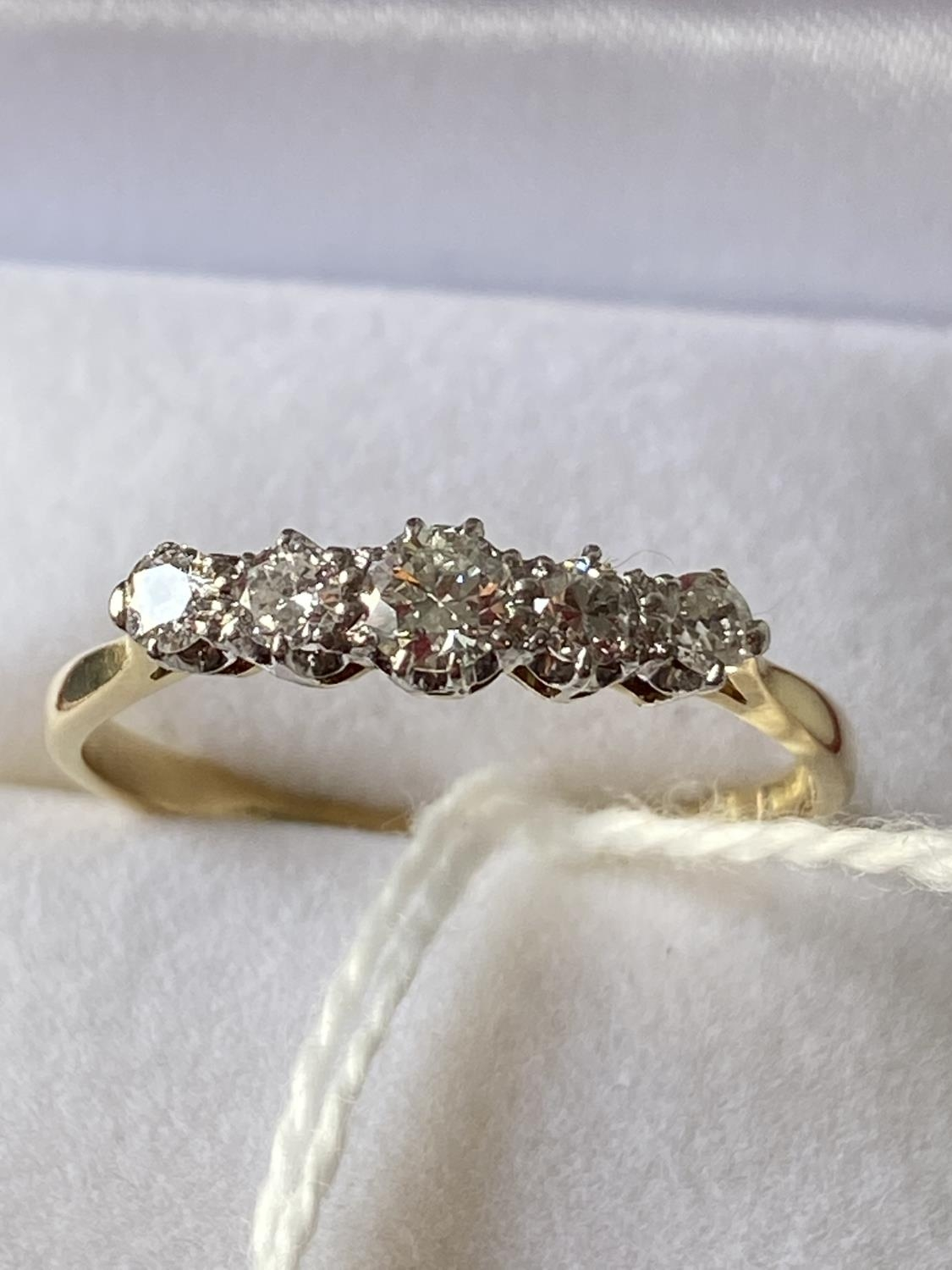 An 18ct gold ladies ring set with 5 brilliant white diamonds [1 inclusion] [size T] [2.73g] - Image 8 of 10