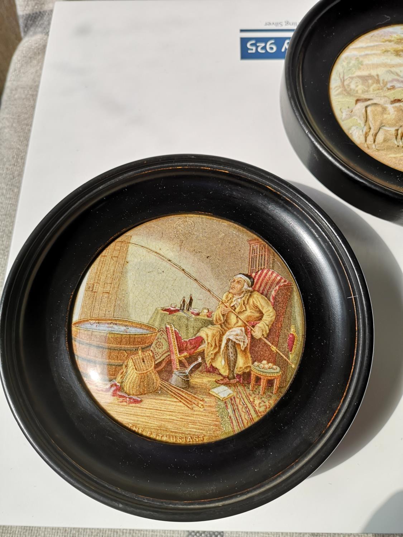Two framed antique pratt Ware pot lids [Frames- 15cm in diameter] - Image 2 of 4
