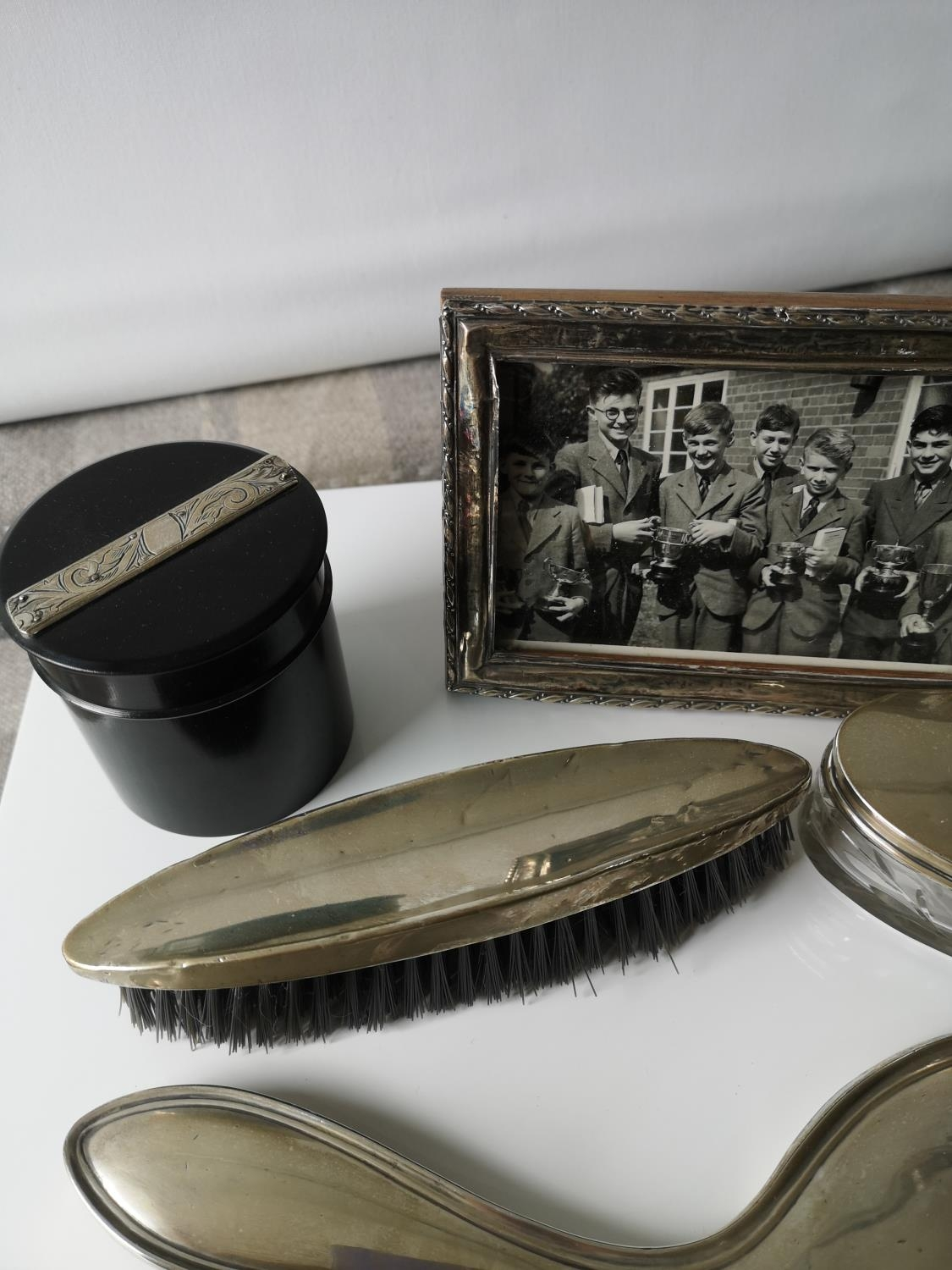 A Silver hand brush, mirror, silver lid and glass base dressing table preserve pot, ebony & silver - Image 3 of 4