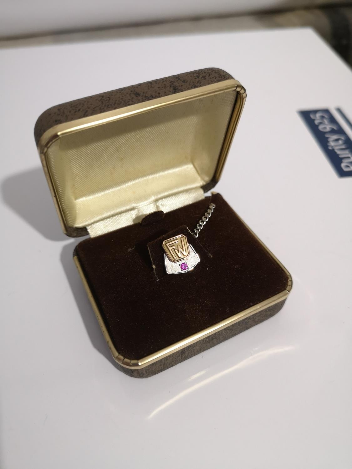 A 10CT GOLD AND RUBY STONE LONG SERVICE TIE PIN. COMES WITH PRESENTATION BOX.