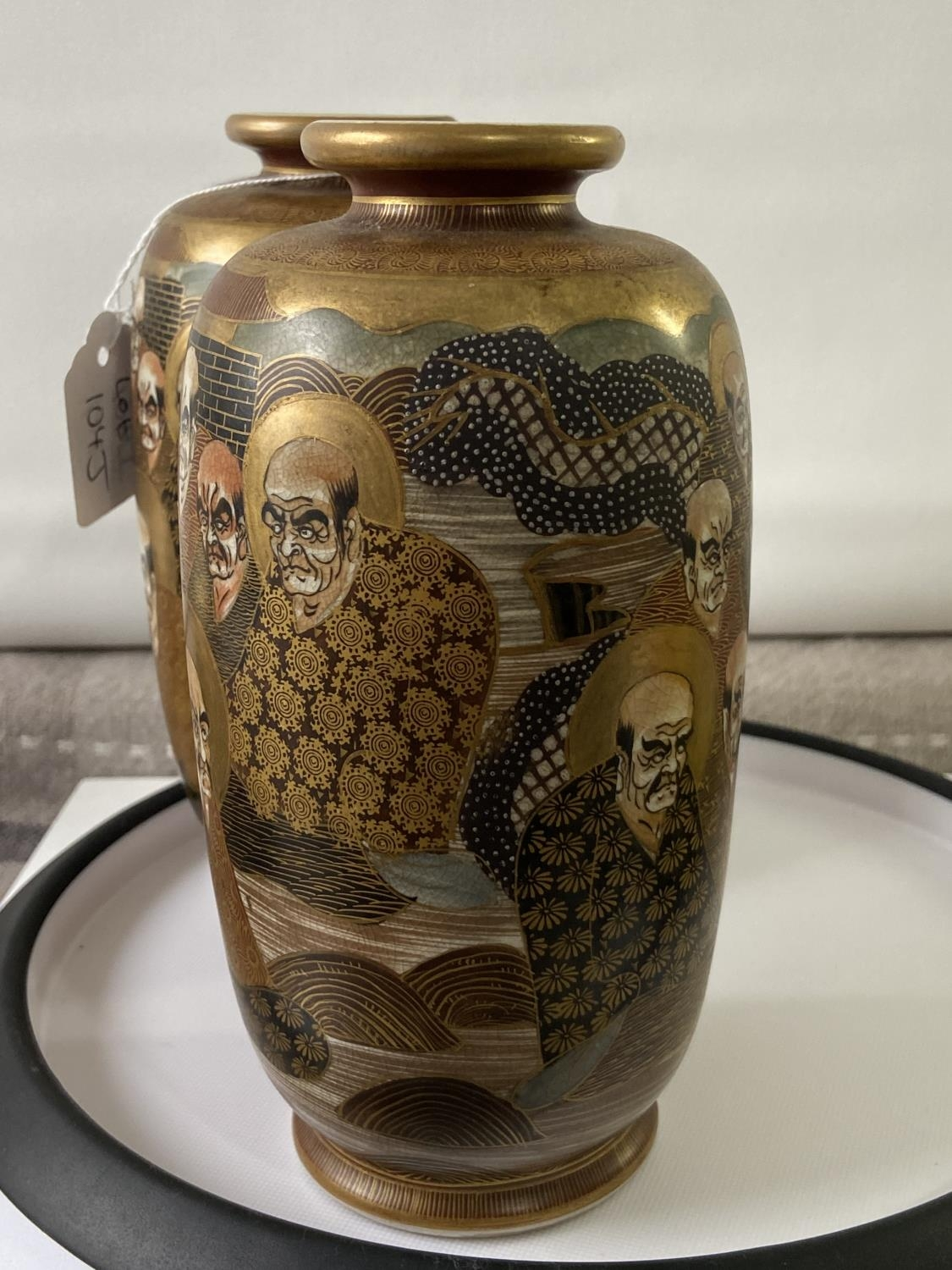 A pair of Japanese satsuma hand painted vases depicting various characters & dragon design [height - Image 4 of 14