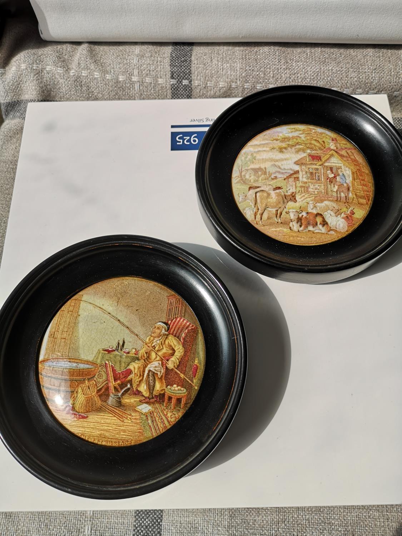 Two framed antique pratt Ware pot lids [Frames- 15cm in diameter]