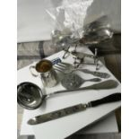 A Collection of silver plated & E.P Wares to include antique page turner, cutlery rests & ladles