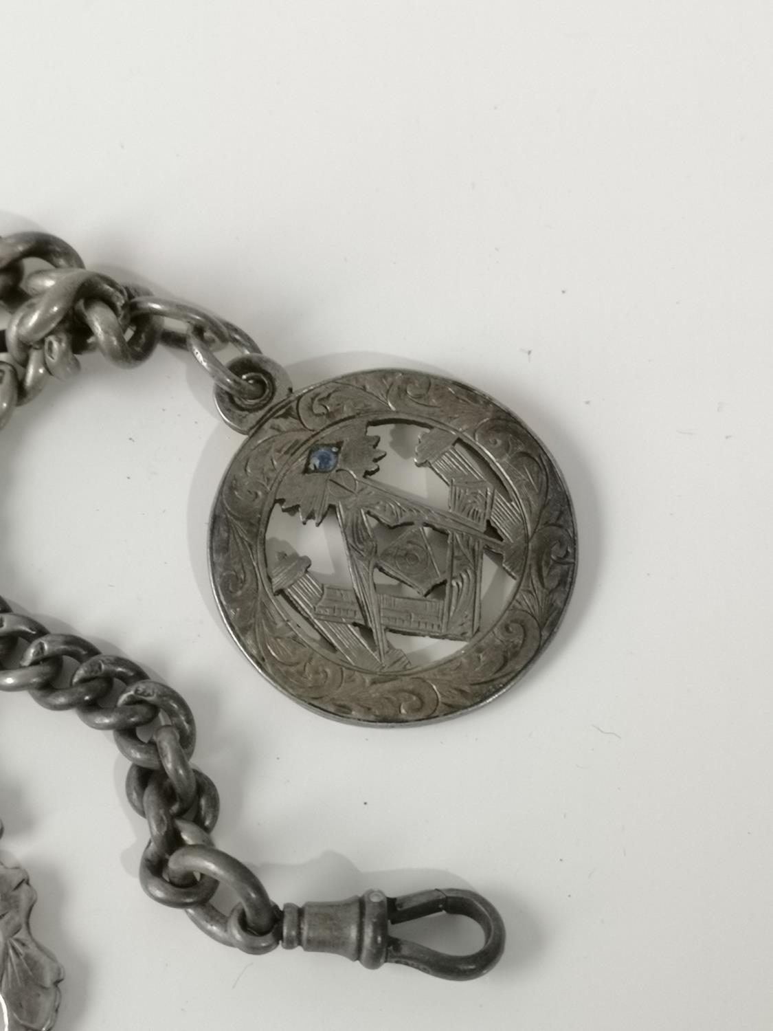 An antique silver Albert chain, T- Bar & Birmingham silver Masonic fob medal set with a blue - Image 2 of 3