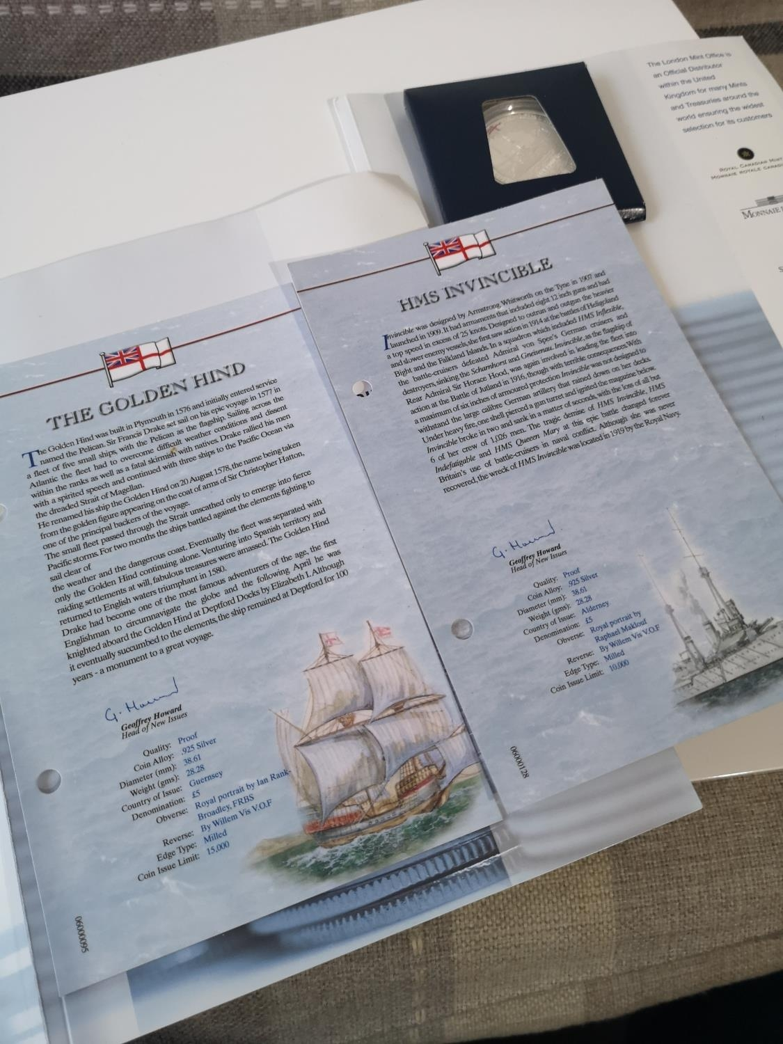 WO LONDON MINT OFFICE SILVER 925 PROOF NAVAL £5 COINS. INCLUDES THE GOLDEN HIND & HMS INVINCIBLE. - Image 2 of 2
