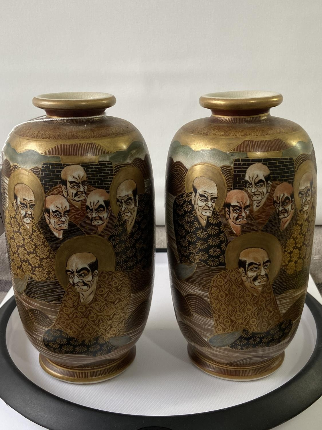 A pair of Japanese satsuma hand painted vases depicting various characters & dragon design [height - Image 6 of 14