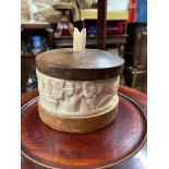 An early 20th century ivory carved and wood preserve pot. [11cm to include top]