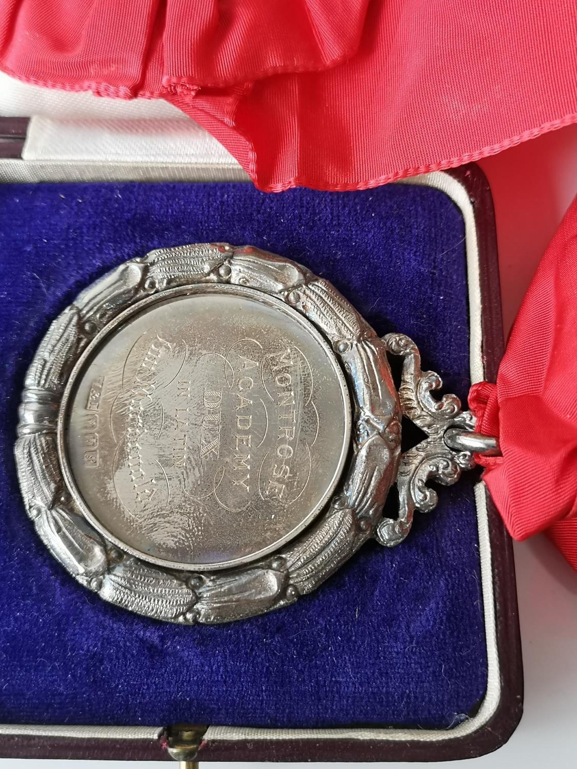 An Edinburgh silver Montrose Academy Dux medal produced by Hamilton & Inches, Comes with a fitted - Image 3 of 7