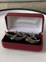 A pair of Sterling silver swallow cufflinks