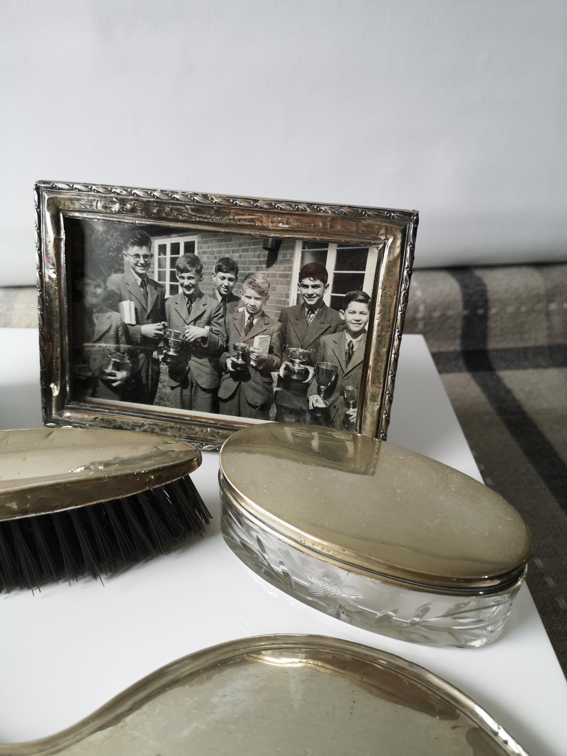 A Silver hand brush, mirror, silver lid and glass base dressing table preserve pot, ebony & silver - Image 4 of 4