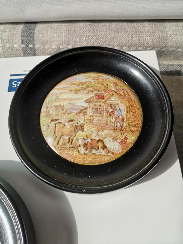 Two framed antique pratt Ware pot lids [Frames- 15cm in diameter] - Image 3 of 4