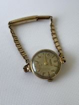 A vintage 9ct gold Rotary case & strap [15.88g] together with a Swiss made watch, in a working