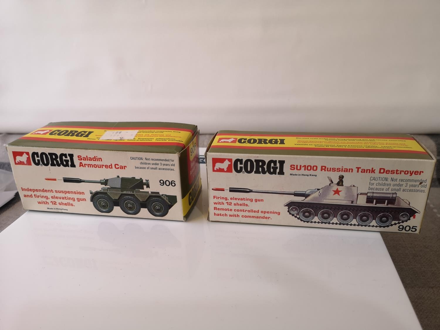 TWO CORGI MILITARY MODELS WITH BOXES. 906 SALADIN ARMOURED CAR & 905 SU100 RUSSIAN TANK DESTROYER. - Image 2 of 2