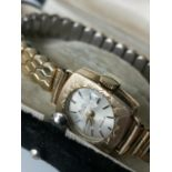 A 9CT Gold cased ladies watch. Timepiece made by Bentima 'Star' 17 jewels Incabloc with a gilt