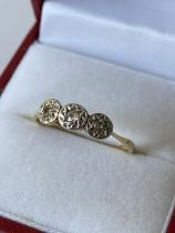 A 9ct gold & 3 diamond stone ring [size M] [1.82g]